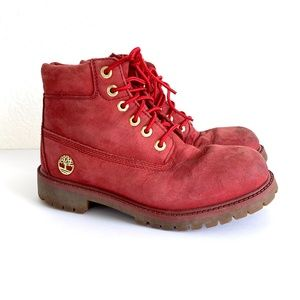 Timberland Ruby Red Lace Up Waterproof Boots